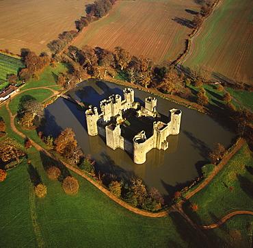 Aerial image of Bodiam Castle, late medieval moated castle, Robertsbridge, East Sussex, England, United Kingdom, Europe