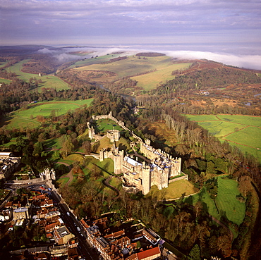 Aerial image of Arundel Castle, a restored medieval castle, South Downs, Arundel, West Sussex, England, United Kingdom, Europe