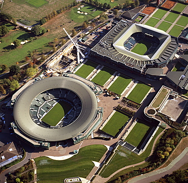 Aerial image of Centre Court and Number 1 Court, All-England Club (All England Lawn Tennis and Croquet Club), Wimbledon, London, England, United Kingdom, Europe