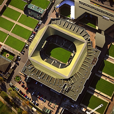 Aerial image of Centre Court, All-England Club (All England Lawn Tennis and Croquet Club), Wimbledon, London, England, United Kingdom, Europe