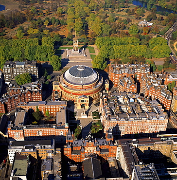 Aerial image of the Royal Albert Hall, and the Albert Memorial in Kensington Gardens, London, England, United Kingdom, Europe