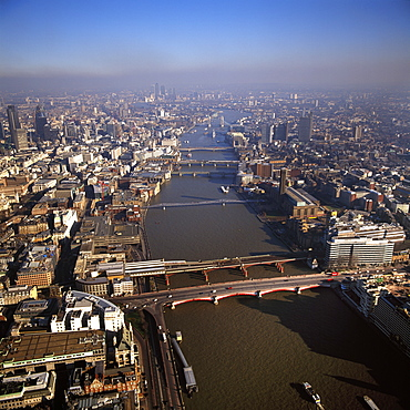 Aerial image of bridges over the River Thames, looking east from Blackfriars Bridge, London, England, United Kingdom, Europe