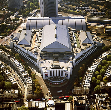 Aerial image of the Earls Court Exhibition Centre, Warwick Road, West London, London, England, United Kingdom, Europe