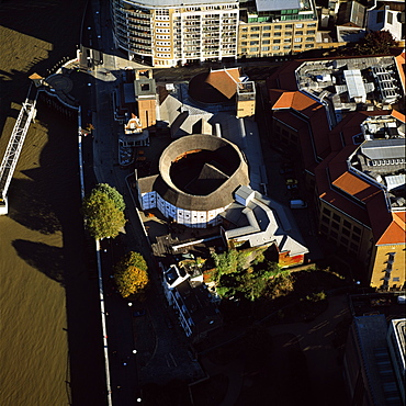 Aerial image of the Globe Theatre (Shakespeare's Globe) and the River Thames, London, England, United Kingdom, Europe