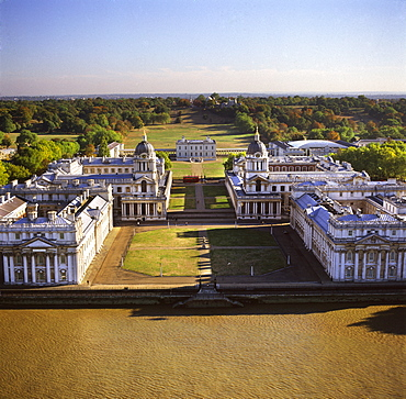 Aerial image of the Royal Naval College and Queen's House, on the south bank of the River Thames, UNESCO World Heritage Site, with the Royal Observatory in the background, Greenwich, London, England, United Kingdom, Europe