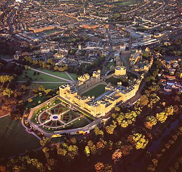 Aerial image of Windsor Castle, the largest inhabited castle in the world, Windsor, Berkshire, England, United Kingdom, Europe