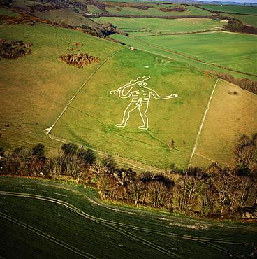 Aerial image of the Cerne Abbas Giant, Cerne Abbas, north of Dorchester, Dorset, England, United Kingdom, Europe