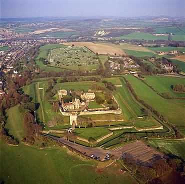 Aerial image of Carisbrooke Castle, a historic motte-and-bailey castle, Carisbrooke, near Newport, Isle of Wight, England, United Kingdom, Europe