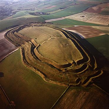 Aerial image of Maiden Castle, an Iron Age hill fort, Winterborne Monkton, near Dorchester, Dorset, England, United Kingdom, Europe