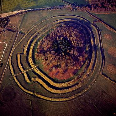Aerial image of Badbury Rings, an Iron Age hill fort, Dorset, England, United Kingdom, Europe