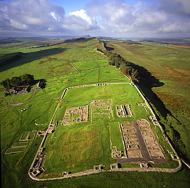 Aerial image of Housesteads Roman Fort of Vercovicium, an auxiliary fort on Hadrian's Wall, UNESCO World Heritage Site, Northumberland, England, United Kingdom, Europe