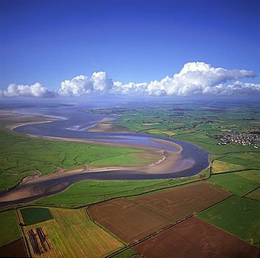 Aerial image of the River Esk flowing into Solway Firth, near Gretna Green, border between Cumbria in England and Dumfries and Galloway in Scotland, United Kingdom, Europe