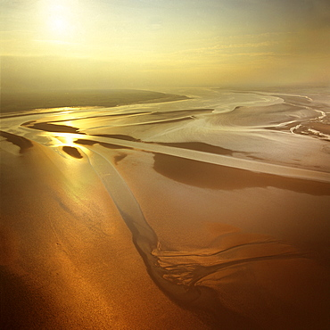 Aerial image of mudflats at sunset, Solway Firth, border between Cumbria in England and Dumfries and Galloway in Scotland, United Kingdom, Europe