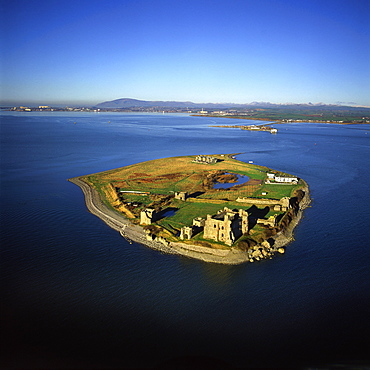 Aerial image of Piel Castle (Fouldry Castle) (Fouldrey Castle), a concentric medieval fortification with a keep and three towers, Piel Island, Furness Peninsula, Barrow in Furness, Cumbria, England, United Kingdom, Europe