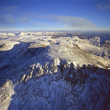 Aerial image of Scafell Pike, the highest mountain in England, Lake District National Park, Cumbria, England, United Kingdom, Europe