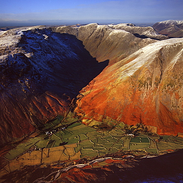 Aerial image of Wasdale Head, with St. Olaf's church, the smallest church in England, Brackenclose, Wasdale Fell, Kirk Fell, High Fell and Mosedale, Lake District National Park, Cumbria, England, United Kingdom, Europe