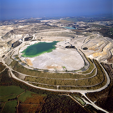 Aerial image of China Clay (Kaolin) Quarries, St. Austell, Cornwall, England, United Kingdom, Europe