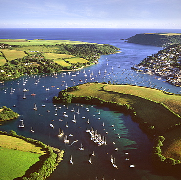 Aerial image of Salcombe and East Portlemouth, Kingsbridge Estuary, Devon, England, United Kingdom, Europe