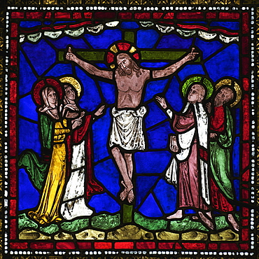 Medieval stained glass of The Crucifixion, Corona Redemption Window, East End, Corona I, Canterbury Cathedral, UNESCO World Heritage Site, Canterbury, Kent, England, United Kingdom, Europe