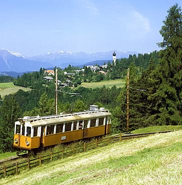 Ritten Railway in front of Soprabolzano, Ritten, Alto Adige, Italy, Europe