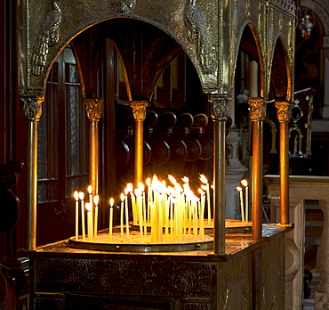 Votive candles, Church of Moni Panagia Theotokou Monastery, Paleokastritsa, north-west Corfu, Corfu Island, Ionian Islands, Greece, Southern Europe, Europe