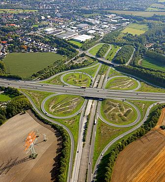 Aerial view, Castrop motorway junction, A45 motorway and A42 motorway, Castrop-Rauxel, Ruhr area, North Rhine-Westphalia, Germany, Europe