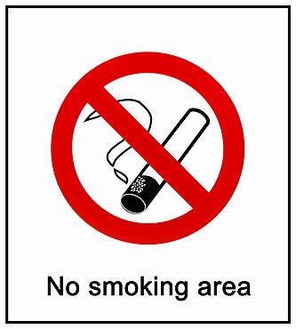 Prohibition sign, No smoking area