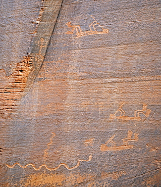 Ca. 1500-year-old petroglyphs of the Native Americans, Monument Valley, Arizona, USA, America