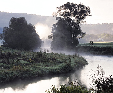 Early morning fog in the river Jagst valley near Langenburg, Hohenlohe, Baden-Wuerttemberg, Germany, Europe