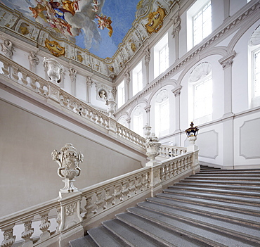 Emperor's Staircase in the Imperial Wing, Goettweig Abbey, Wachau, Mostviertel, Must Quarter, Lower Austria, Austria, Europe