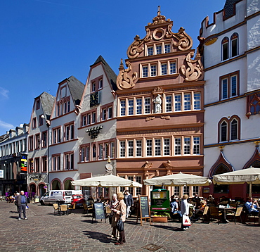 Rotes Haus, Red House on Hauptmarkt square, Trier, Rhineland-Palatinate, Germany, Europe