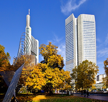 ECB, European Central Bank and Commerzbank, autumn, Frankfurt am Main, Hesse, Germany, Europe