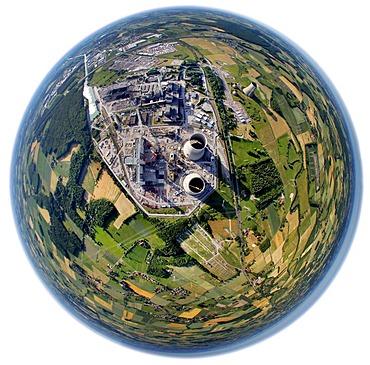 Aerial view, fisheye lens, RWE Power, new power plant construction Hamm, Kraftwerk Westfalen, Westphalia power plant, coal-fired power plant, Hamm, North Rhine-Westphalia, Germany, Europe