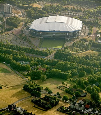 Aerial view, Schalkearena stadium, Arena auf Schalke stadium, Veltins-Arena stadium, stadium of a German Bundesliga club, Buer district, Gelsenkirchen, Ruhrgebiet area, North Rhine-Westphalia, Germany, Europe