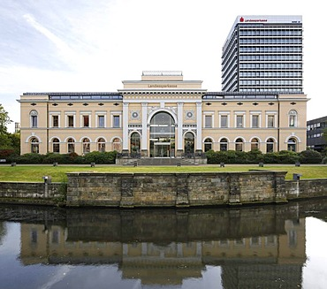 Ottmerbau building, former railway station, and the high-rise building of the Landessparkasse state savings bank, Braunschweig, Brunswick, Lower Saxony, Germany, Europe