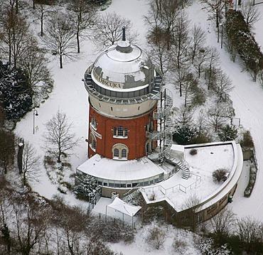 Aerial view, former water tower, historical monument, camera obscura, Muelheim an der Ruhr, Ruhrgebiet region, North Rhine-Westphalia, Germany, Europe