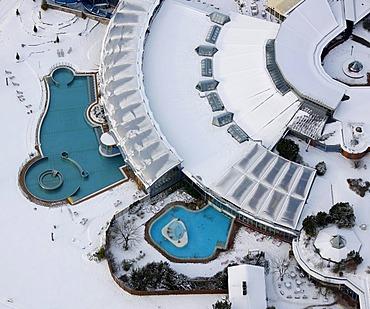 Aerial view, Freizeitbad Heveney swimming pool, Kemnader Stausee reservoir, Bochum, Ruhrgebiet region, North Rhine-Westphalia, Germany, Europe