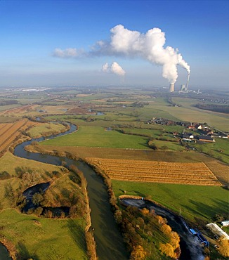Aerial photo, Lippe River, Lippe meander and meadows, Luenen city limits, Bergkamen, Ruhr area, North Rhine-Westphalia, Germany, Europe