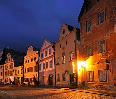 Historic old town in the evening, UNESCO World Heritage Site, Cesky Krumlov, Czech Republic, Europe