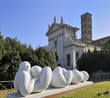 Modern sculpture in front of the church of Santa Francesca Romana in the Roman Forum, Rome, Italy, Europe