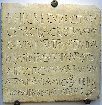 Early Christian inscription in the Terme Museum, National Museum of Rome, Lazio, Italy, Europe