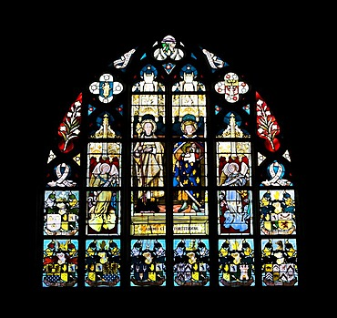 Stained-glass window of the Notre Dame Cathedral, Onze-Lieve-Vrouwekathedraal, Cathedrale Notre-Dame, Unesco World Heritage, Antwerp, Flanders, Belgium, Europe