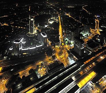 Aerial photo, RWE Tower Evonik, Essen, Ruhrgebiet area, Extraschicht 2009 cultural festival, night flight, North Rhine-Westphalia, Germany, Europe