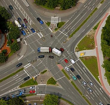 Aerial view, street intersection, Hochfeld, Dorsten, Ruhrgebiet region, North Rhine-Westphalia, Germany, Europe
