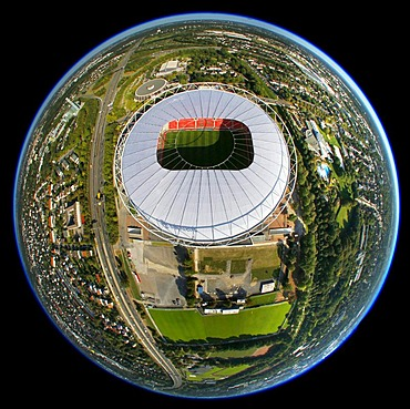 Aerial view, fisheye, BayArena stadium, Leverkusen, North Rhine-Westphalia, Germany, Europe