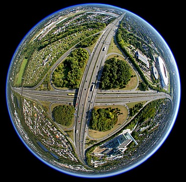 Aerial view, fisheye, Leverkusener Kreuz intersection, intersection A1 A3 motorways, Leverkusen, North Rhine-Westphalia, Germany, Europe