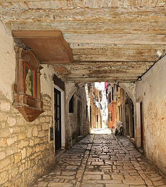 Alley in the historic town centre of Rovinj, Croatia, Europe