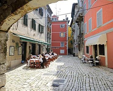 Square in the historic town centre of Rovinj, Croatia, Europe