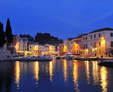 Port at night in Veli Losinj, Croatia, Europe