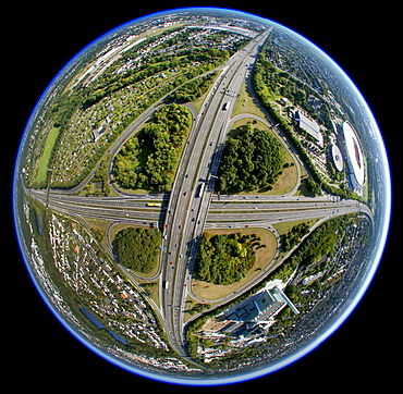 Aerial photo, Leverkusener Kreuz intersection, intersection A1 A3 motorways, fisheye, Leverkusen, North Rhine-Westphalia, Germany, Europe